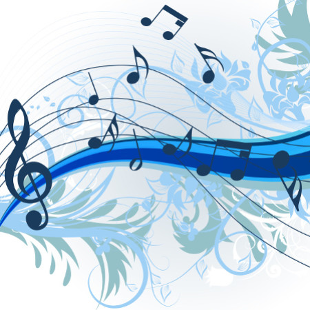 floral music theme for design use. Vector illustration.